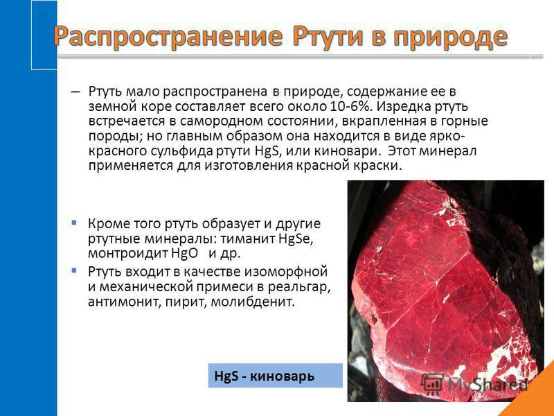 – Ртуть мало распространена в природе, содержание ее в земной коре составляет всего около 10-6%. Изредка ртуть встречается в самородном состоянии, вкрапленная в горные породы; но главным образом она находится в виде ярко- красного сульфида ртуты HgS,