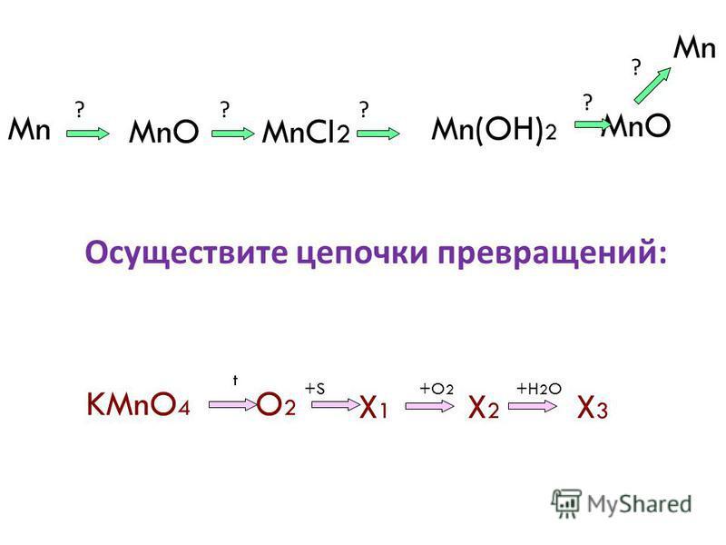 Mn MnO MnCl 2 Mn(OH) 2 MnO Mn KMnO 4 O2O2 X1X1 X2X2 X3X3 Осуществите цепочки превращений : +S+O 2 +H 2 O t ??? ? ?