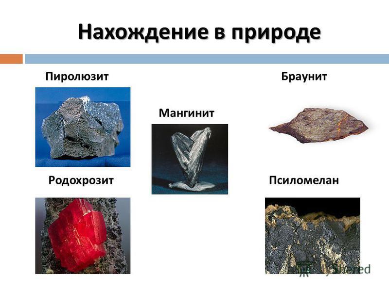 Пиролюзит Мангинит Браунит Родохрозит Псиломелан Нахождение в природе