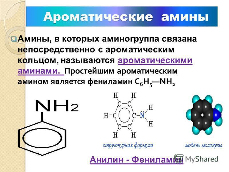 М Метамерия: первичные, вторичные и третичные амины изомерны друг другу Первичный амин пропиламин Вторичный амин метилэтиламин Третичный амин триметиламин Изомерия аминов