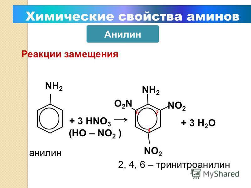 Уменьшение электронной плотности на атоме азота приводит к снижению способности отщеплять протоны от слабых кислот. Поэтому анилин взаимодействует лишь с сильными кислотами (HCl, H 2 SO 4 ), а его водный раствор не окрашивает лакмус в синий цвет. Ами