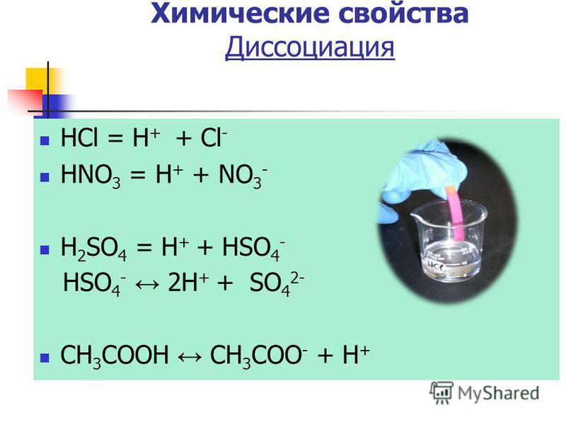 HCl = H + + Cl - HNO 3 = H + + NO 3 - H 2 SO 4 = H + + HSO 4 - HSO 4 - 2H + + SO 4 2- CH 3 COOH CH 3 COO - + H + Химические свойства Диссоциация