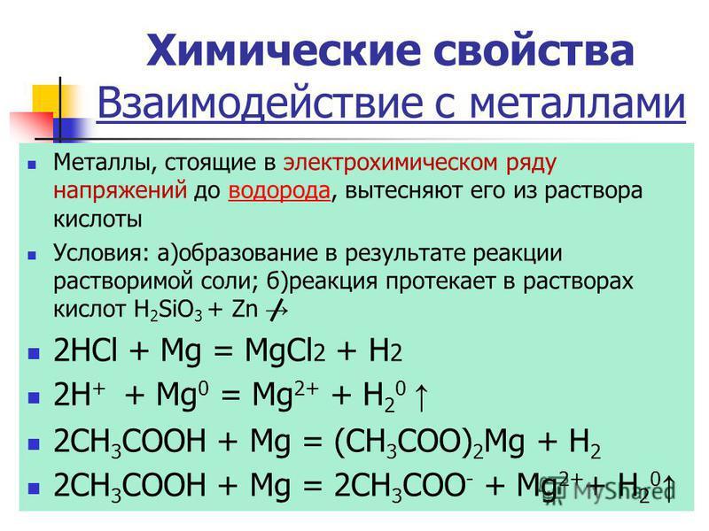Химические свойства Взаимодействие с металлами Металлы, стоящие в электрохимическом ряду напряжений до водорода, вытесняют его из раствора кислоты водорода Условия: а)образование в результате реакции растворимой соли; б)реакция протекает в растворах