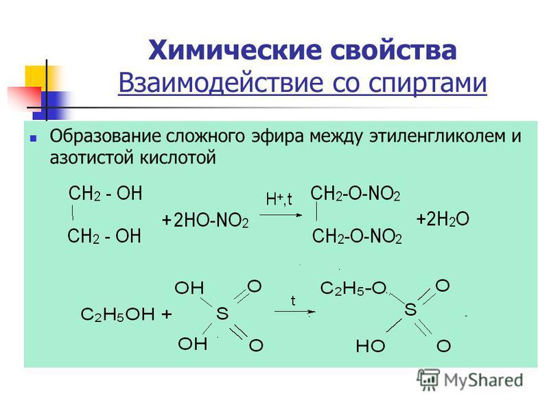 Образование сложного эфира между этиленгликолем и азотистой кислотой Химические свойства Взаимодействие со спиртами