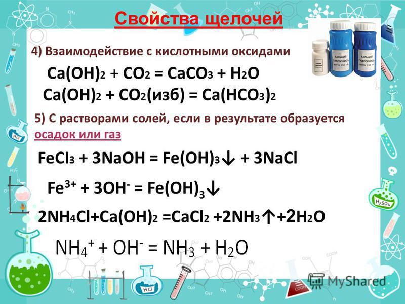 Свойства щелочей 4) Взаимодействие с кислотными оксидами Ca(OH) 2 + CO 2 = CaCO 3 + H 2 O Са(ОН) 2 + СО 2 (изб) = Са(НСО 3 ) 2 5) С растворами солей, если в результате образуется осадок или газ FeCI 3 + 3NaOH = Fe(OH) 3 + 3NaCl 2NH 4 Cl+Ca(OH) 2 =CaC