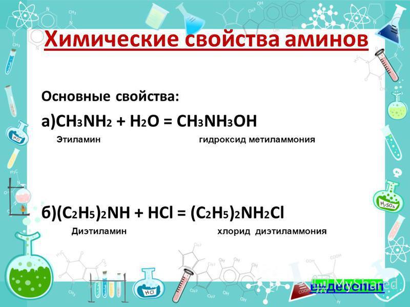 Химические свойства аминов Основные свойства: а)СН 3 NH 2 + H 2 O = СН 3 NH 3 OH Этиламин гидроксид метиламмония б)(С 2 Н 5 ) 2 NH + HСl = (С 2 Н 5 ) 2 NH 2 Cl Диэтиламин хлорид диэтиламмония видеоопыт