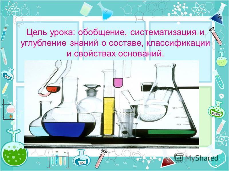 Цель урока: обобщение, систематизация и углубление знаний о составе, классификации и свойствах оснований.