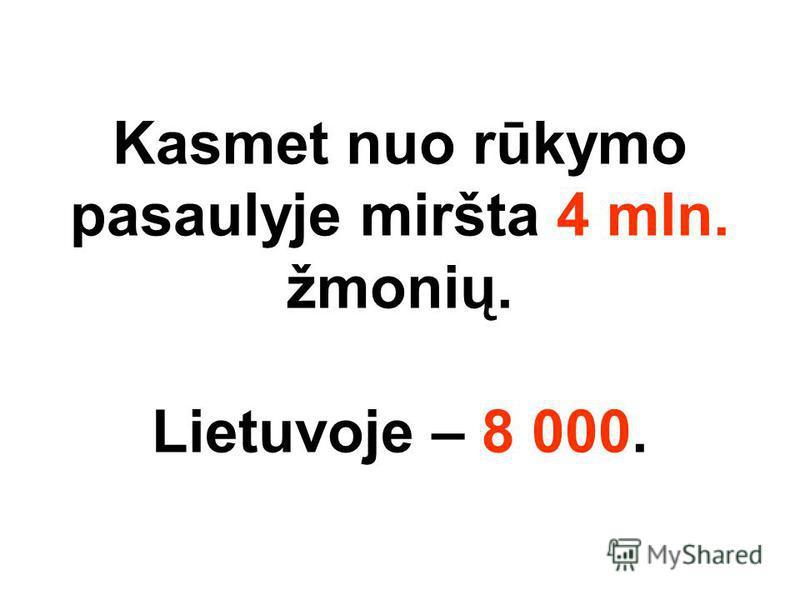 Kasmet nuo rūkymo pasaulyje miršta 4 mln. žmonių. Lietuvoje – 8 000.