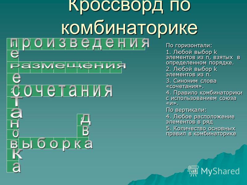 Кроссворд по комбинаторике По горизонтали: 1. Любой выбор k элементов из n, взятых в определенном порядке. 2. Любой выбор k элементов из n. 3. Синоним слова «сочетания». 4. Правило комбинаторики с использованием союза «и». По вертикали: 4. Любое расп