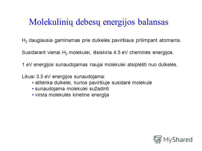 Molekulinių debesų energijos balansas H 2 daugiausia gaminamas prie dulkelės paviršiaus prilimpant atomams. Susidarant vienai H 2 molekulei, išsiskiria 4.5 eV cheminės energijos. 1 eV energijos sunaudojamas naujai molekulei atsiplėšti nuo dulkelės. L