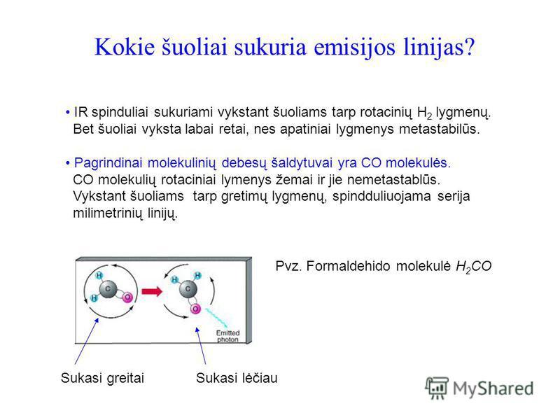 Kokie šuoliai sukuria emisijos linijas? IR spinduliai sukuriami vykstant šuoliams tarp rotacinių H 2 lygmenų. Bet šuoliai vyksta labai retai, nes apatiniai lygmenys metastabilūs. Pagrindinai molekulinių debesų šaldytuvai yra CO molekulės. CO molekuli