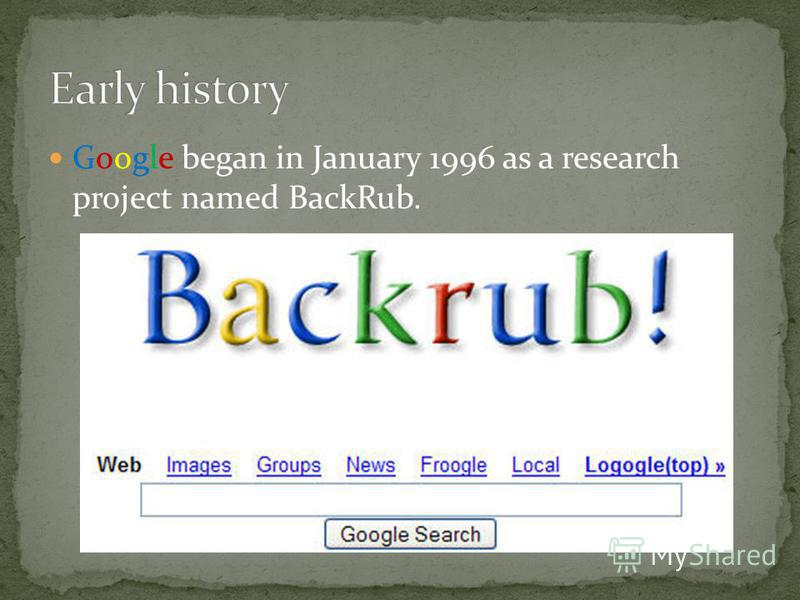 Google began in January 1996 as a research project named BackRub.