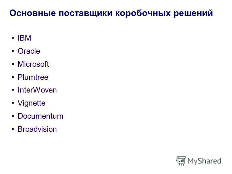 IBM Oracle Microsoft Plumtree InterWoven Vignette Documentum Broadvision Основные поставщики коробочных решений