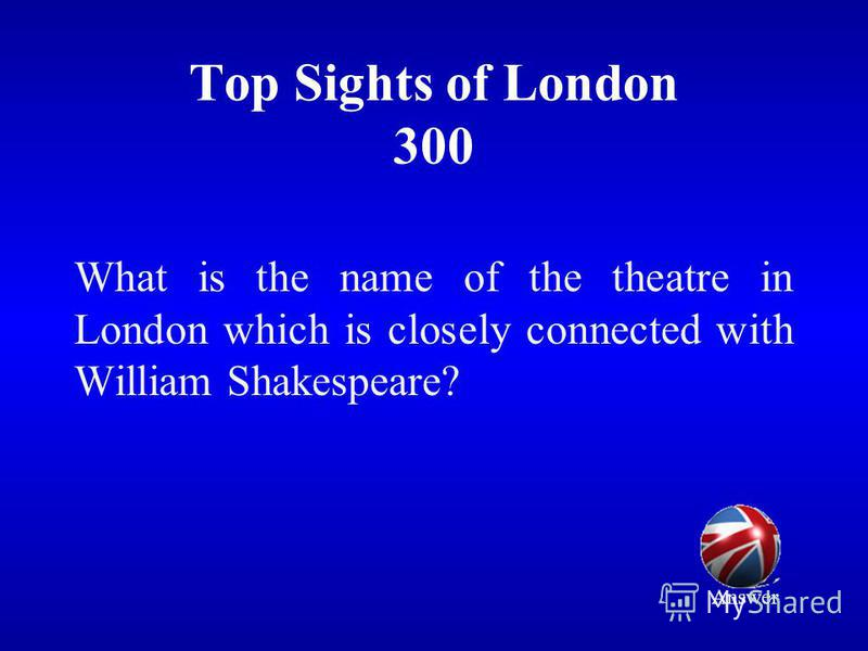 Top Sights of London 300 What is the name of the theatre in London which is closely connected with William Shakespeare? Answer
