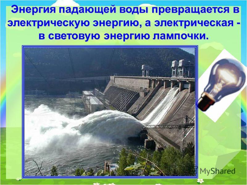 Энергия падающей воды превращается в электрическую энергию, а электрическая - в световую энергию лампочки. Энергия падающей воды превращается в электрическую энергию, а электрическая - в световую энергию лампочки.