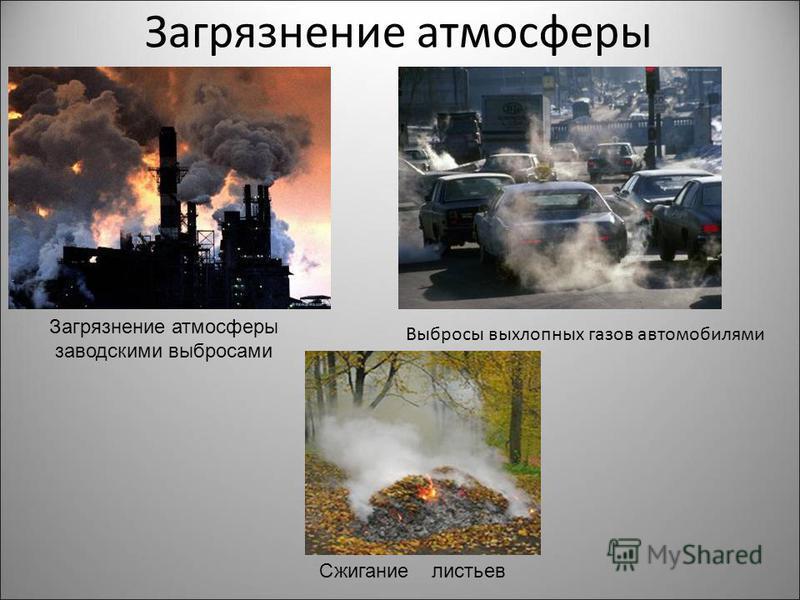 Загрязнение атмосферы Выбросы выхлопных газов автомобилями Загрязнение атмосферы заводскими выбросами Сжигание листьев