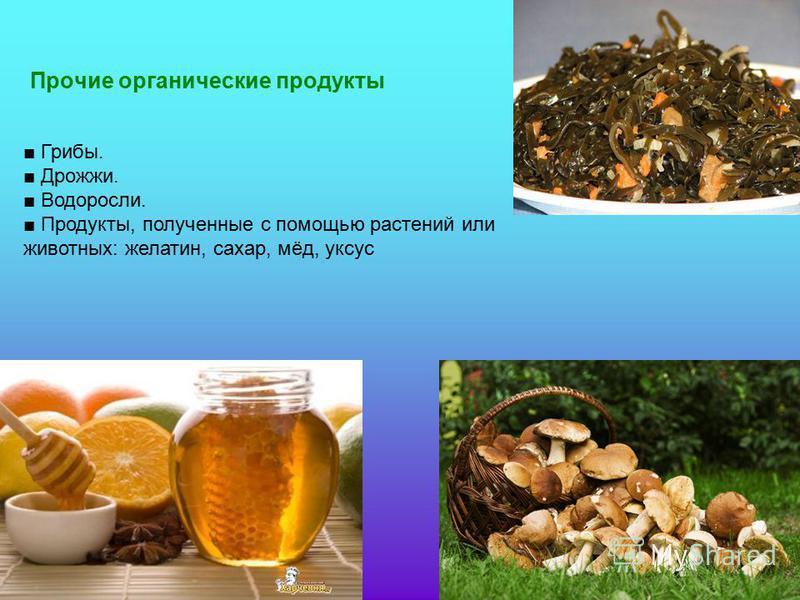Прочие органические продукты Грибы. Дрожжи. Водоросли. Продукты, полученные с помощью растений или животных: желатин, сахар, мёд, уксус