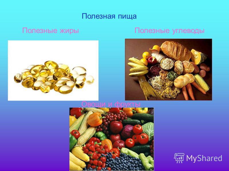 Полезные жиры Полезные углеводы Полезная пища Овощи и фрукты