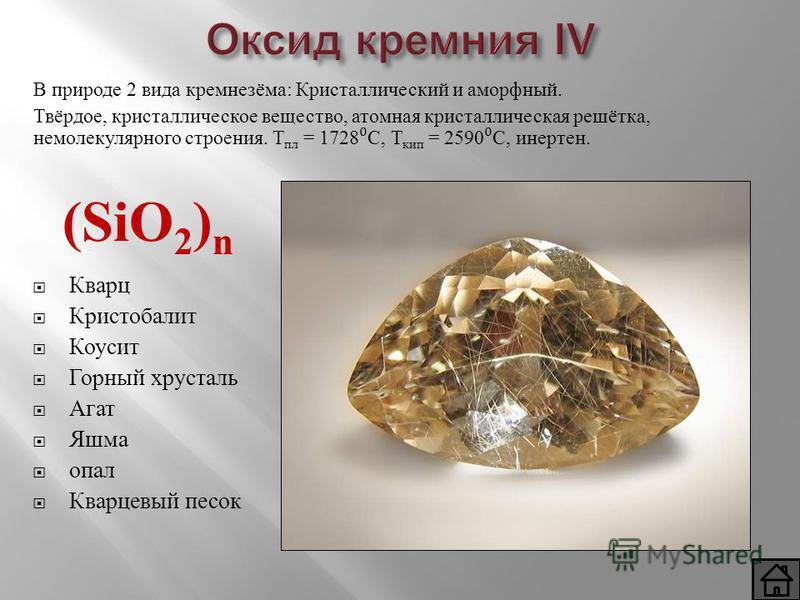 Оксид кремния IV (SiO 2 ) n Кварц Кристобалит Коусит Горный хрусталь Агат Яшма опал Кварцевый песок В природе 2 вида кремнезёма: Кристаллический и аморфный. Твёрдое, кристаллическое вещество, атомная кристаллическая решётка, немолекулярного строения.