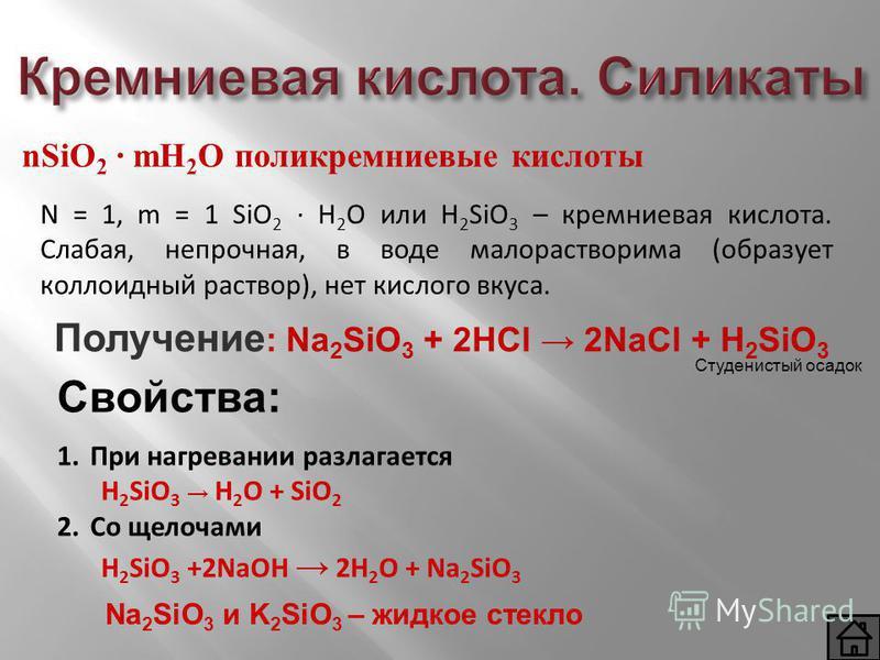 Кремниевая кислота. Силикаты nSiO 2 mH 2 O поликремниевые кислоты N = 1, m = 1 SiO 2 H 2 O или H 2 SiO 3 – кремниевая кислота. Слабая, непрочная, в воде малорастворимая (образует коллоидный раствор), нет кислого вкуса. 1. При нагревании разлагается H