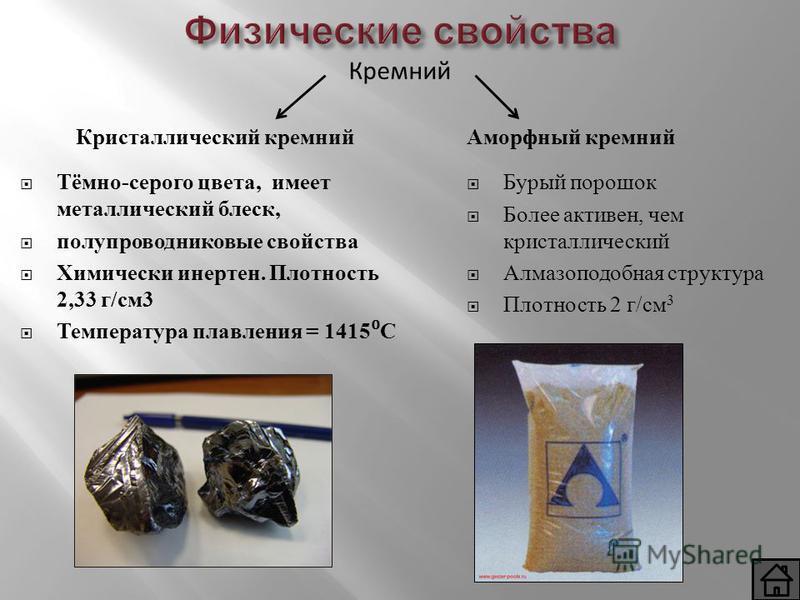Физические свойства Кристаллический кремний Тёмно-серого цвета, имеет металлический блеск, полупроводниковые свойства Химически инертен. Плотность 2,33 г/см 3 Температура плавления = 1415 С Аморфный кремний Бурый порошок Более активен, чем кристаллич