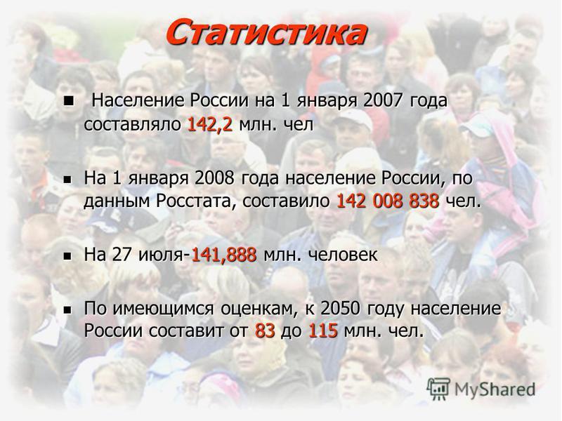 Статистика Население России на 1 января 2007 года составляло 142,2 млн. чел Население России на 1 января 2007 года составляло 142,2 млн. чел На 1 января 2008 года население России, по данным Росстата, составило 142 008 838 чел. На 1 января 2008 года