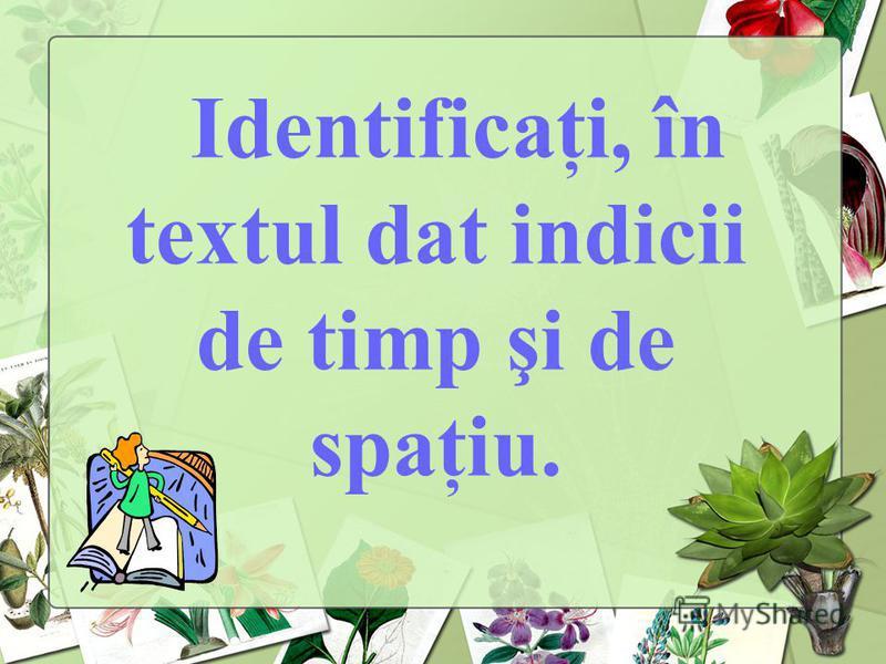 Identificaţi, în textul dat indicii de timp şi de spaţiu.