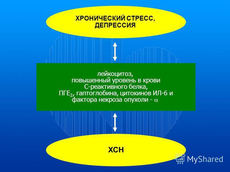 ХРОНИЧЕСКИЙ СТРЕСС, ДЕПРЕССИЯ лейкоцитоз, повышенный уровень в крови С-реактивного белка, ПГЕ 2, гаптоглобина, цитокинов ИЛ-6 и фактора некроза опухоли - ХСН