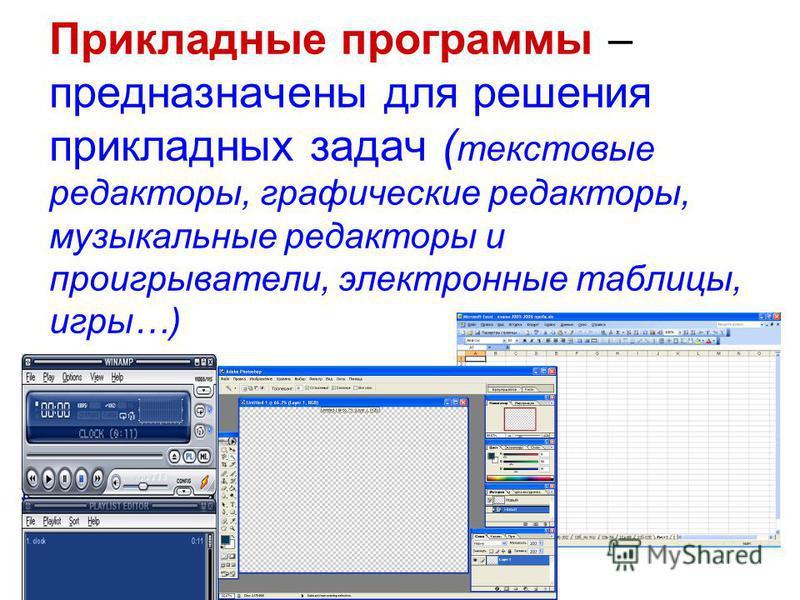 Прикладные программы – предназначены для решения прикладных задач ( текстовые редакторы, графические редакторы, музыкальные редакторы и проигрыватели, электронные таблицы, игры…)
