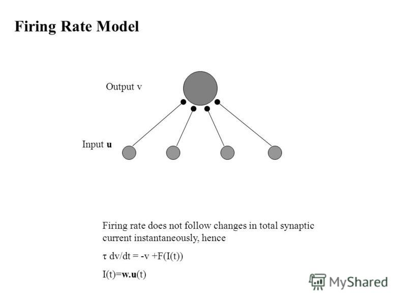 Firing Rate Model Firing rate does not follow changes in total synaptic current instantaneously, hence τ dv/dt = -v +F(I(t)) I(t)=w.u(t) Input u Output v