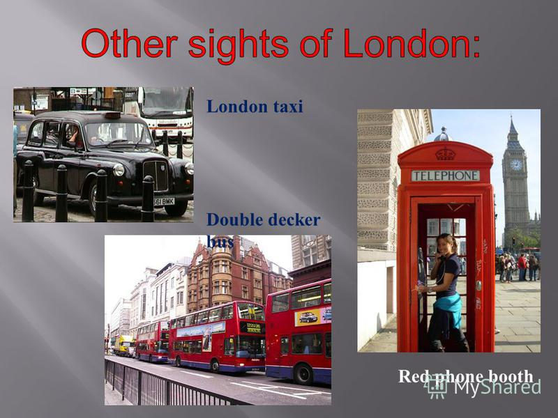 Red phone booth London taxi Double decker bus