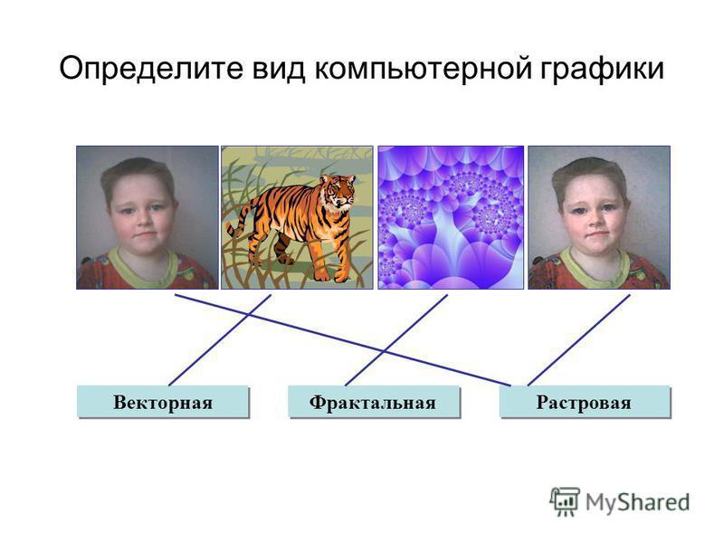 Определите вид компьютерной графики Векторная Фрактальная Растровая