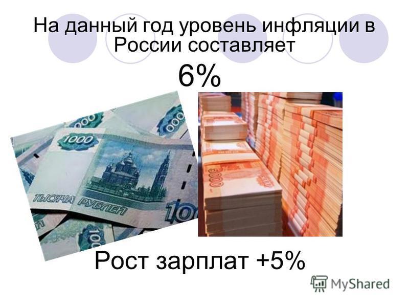 На данный год уровень инфляции в России составляет 6% Рост зарплат +5%