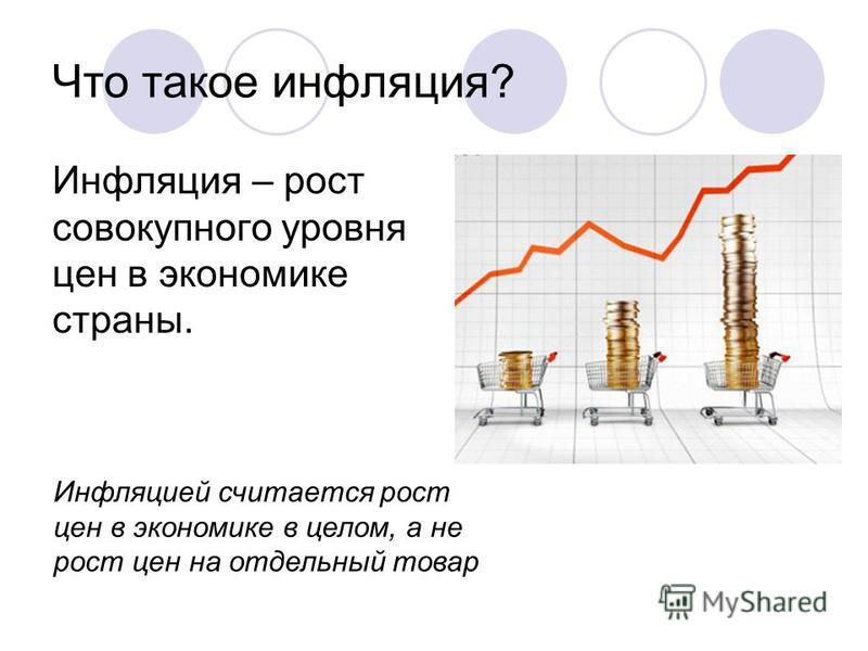 Что такое инфляция? Инфляция – рост совокупного уровня цен в экономике страны. Инфляцией считается рост цен в экономике в целом, а не рост цен на отдельный товар