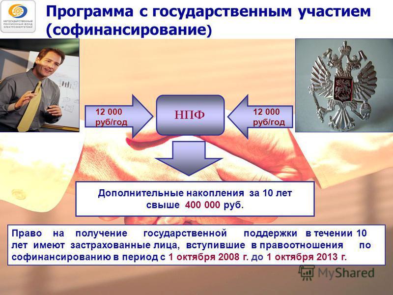Программа с государственным участием (софинансирование ) Дополнительные накопления за 10 лет свыше 400 000 руб. Право на получение государственной поддержки в течении 10 лет имеют застрахованные лица, вступившие в правоотношения по софинансированию в