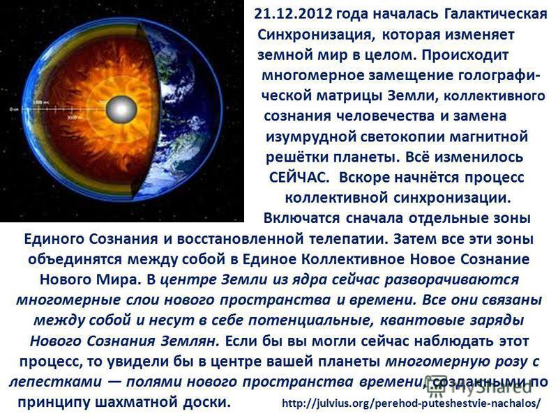 21.12.2012 года началась Галактическая Синхронизация, которая изменяет земной мир в целом. Происходит многомерное замещение голографи- ческой матрицы Земли, коллективного сознания человечества и замена изумрудной светокопии магнитной решётки планеты.