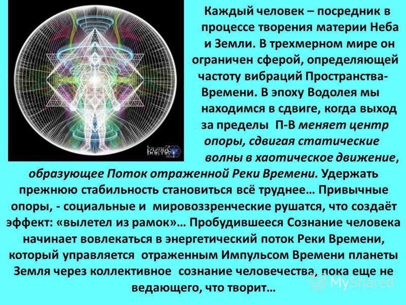 Каждый человек – посредник в процессе творения материи Неба и Земли. В трехмерном мире он ограничен сферой, определяющей частоту вибраций Пространства- Времени. В эпоху Водолея мы находимся в сдвиге, когда выход за пределы П-В меняет центр опоры, сдв