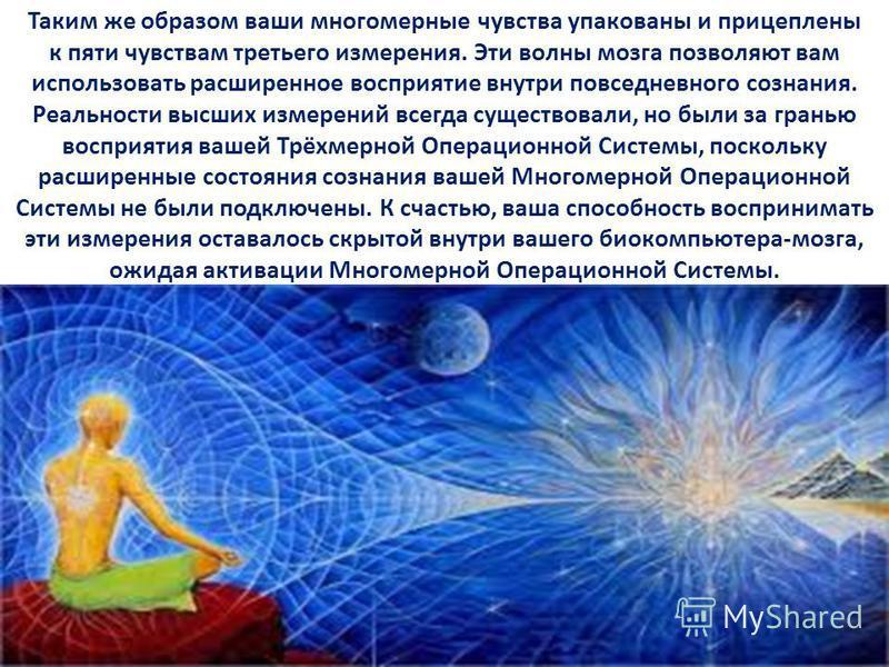 Таким же образом ваши многомерные чувства упакованы и прицеплены к пяти чувствам третьего измерения. Эти волны мозга позволяют вам использовать расширенное восприятие внутри повседневного сознания. Реальности высших измерений всегда существовали, но