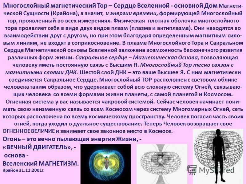 Многослойный магнетический Тор – Сердце Вселенной - основной Дом Магнети- ческой Сущности (Крайона), а значит, и энергии времени, формирующей Многослойный тор, проявленный во всех измерениях. Физическая плотная оболочка многослойного тора проявляет с