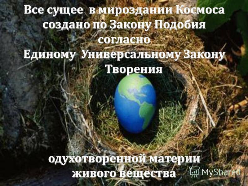 Все сущее в мироздании Космоса создано по Закону Подобия согласно Единому Универсальному Закону Творения Творения одухотворенной материи живого вещества