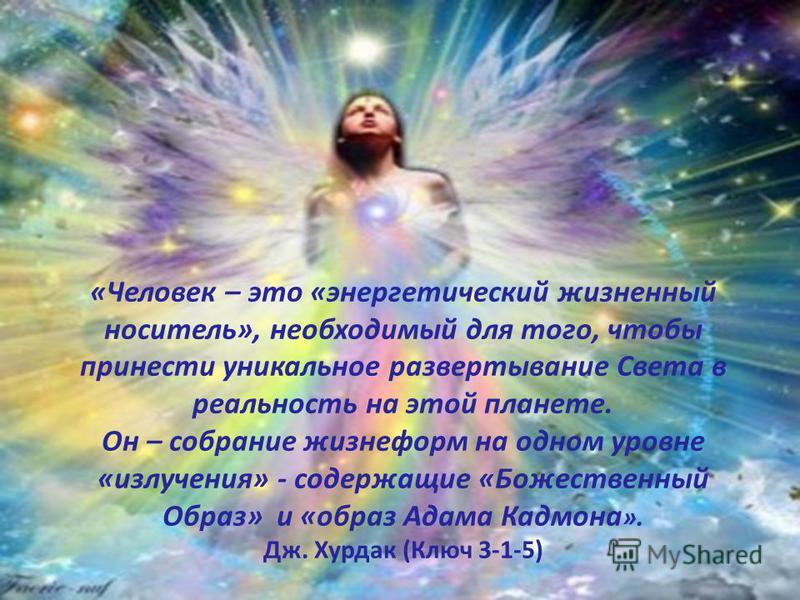 «Человек – это «энергетический жизненный носитель», необходимый для того, чтобы принести уникальное развертывание Света в реальность на этой планете. Он – собрание жизнеформ на одном уровне «излучения» - содержащие «Божественный Образ» и «образ Адама