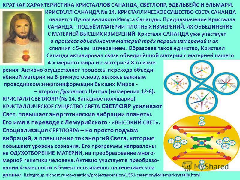 КРАТКАЯ ХАРАКТЕРИСТИКА КРИСТАЛЛОВ САНАНДА, СВЕТЛОЯР, ЭДЕЛЬВЕЙС И ЭЛЬМАРИ. КРИСТАЛЛ САНАНДА 14. КРИСТАЛЛИЧЕСКОЕ СУЩЕСТВО СВЕТА САНАНДА является Лучом великого Иисуса Сананды. Предназначение Кристалла САНАНДА – ПОДЪЁМ МАТЕРИИ ПЛОТНЫХ ИЗМЕРЕНИЙ, ИХ ОБЪЕ