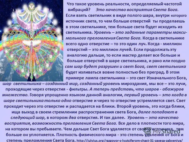 Что такое уровень реальности, определяемый частотой вибраций? Это качество восприятия Света Бога. Если взять светильник в виде полого шара, внутри которого источник света, то чем больше отверстий ты проделаешь в этом светильнике, тем больше света буд