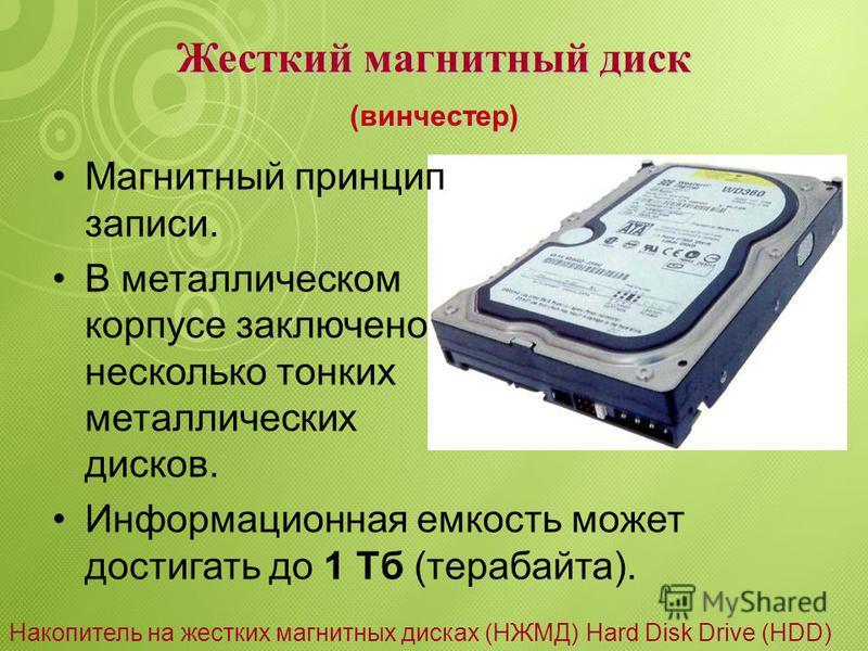 Гибкий магнитный диск Магнитный принцип записи. Информация расположена на концентрических дорожках. Магнитная головка дисковода устанавливается на определенную дорожку. Информационная емкость до 1,4 Мб. (дискета) Накопитель на гибких магнитных дисках
