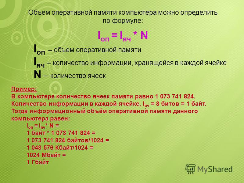Номер ячейки Информация в ячейке 1 073 741 82311111111 …….. 400000000 311110000 200001111 110101010 001010101 Оперативная память представляет собой последовательность пронумерованных, начиная с нуля, ячеек. В каждой ячейке может храниться двоичный ко
