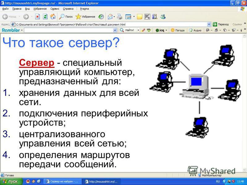 Локальная сеть - коммуникационная система, состоящая из нескольких компьютеров, соединенных между собой посредством кабелей (телефонных линий, радиоканалов). В сети есть один компьютер, который является главным и называется сервером, а остальные комп