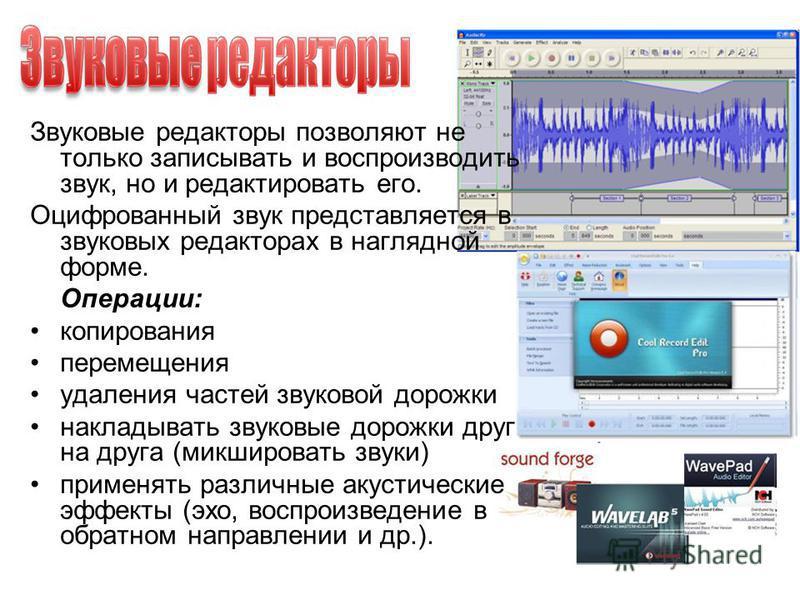Звуковые редакторы позволяют не только записывать и воспроизводить звук, но и редактировать его. Оцифрованный звук представляется в звуковых редакторах в наглядной форме. Операции: копирования перемещения удаления частей звуковой дорожки накладывать