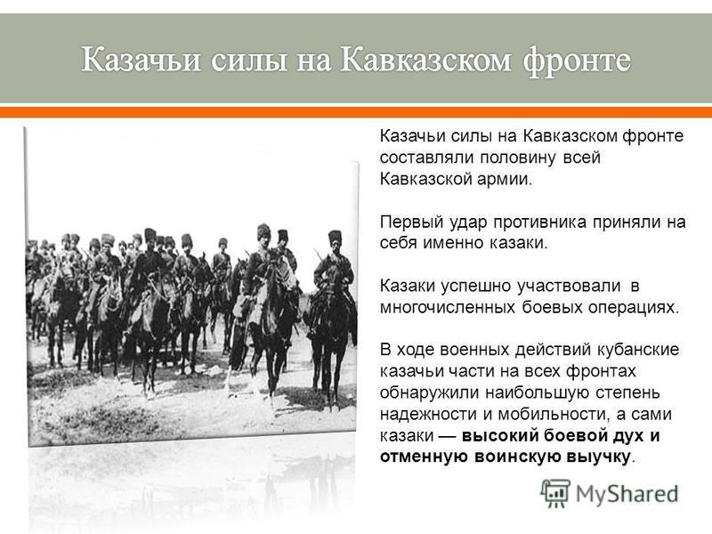 Казачьи силы на Кавказском фронте составляли половину всей Кавказской армии. Первый удар противника приняли на себя именно казаки. Казаки успешно участвовали в многочисленных боевых операциях. В ходе военных действий кубанские казачьи части на всех ф