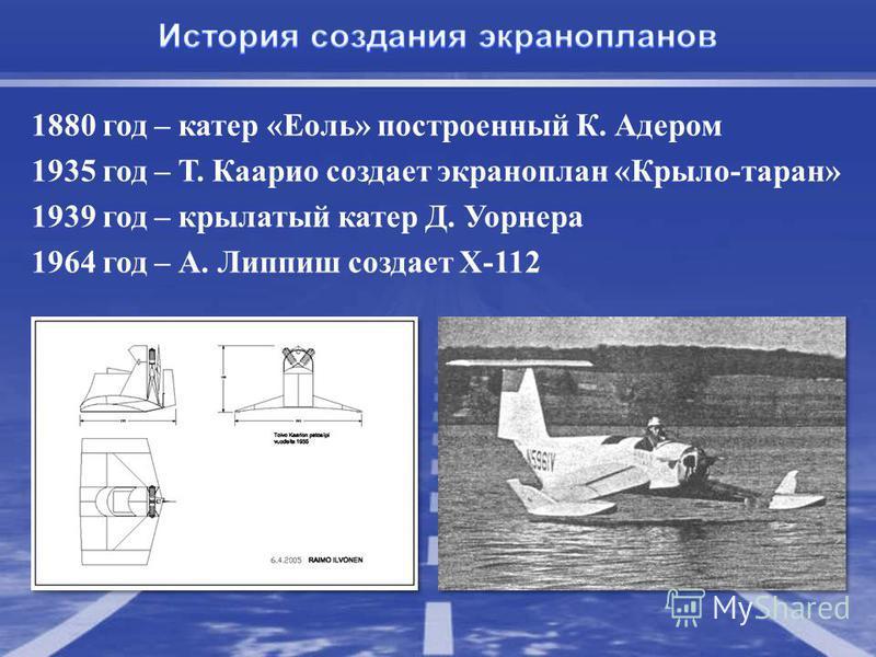1880 год – катер «Еоль» построенный К. Адером 1935 год – Т. Каарио создает экраноплан «Крыло-таран» 1939 год – крылатый катер Д. Уорнера 1964 год – А. Липпиш создает X-112
