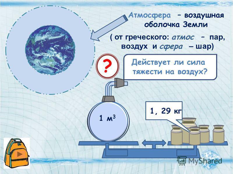 Атмосфера – воздушная оболочка Земли ( от греческого: атмос – пар, воздух и сфера – шар) ? Действует ли сила тяжести на воздух? 1, 29 кг 1 м 3
